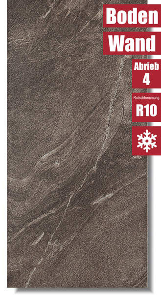 Bodenfliese in Natursteinoptik Arigato Brown Braun von Meissen Keramik
