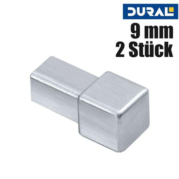 DURAL Squareline DPSA 962-SF-Y Ecke Aluminium Silber Gebürstet 9 mm 2 Stk./Set