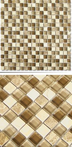 Glas-Naturstein-Mosaik SG15030 Beige Braun Mix 1,5 x 1,5