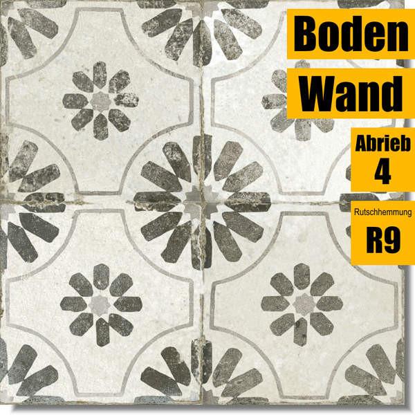 Bodenfliese FS Blume Black schwarz 27228 für Küche und Bad