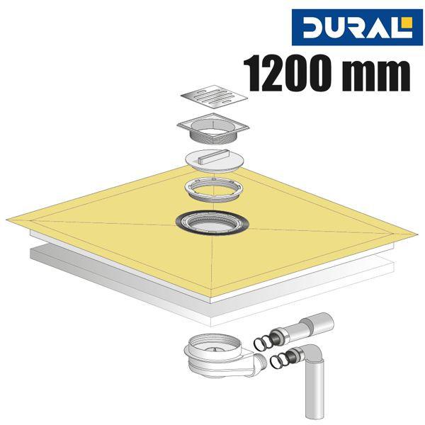 Tilux Point TL 120 Duschelement Set Punktablauf 120 x 120 x 4 cm