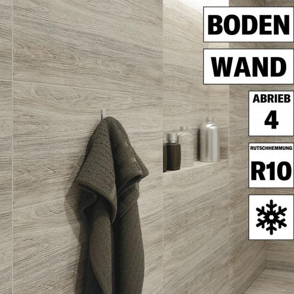 Holzdekor Fliese Tizura creme für Wand und Boden