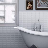 Fliese Metro Facette White weiß 10 x 20
