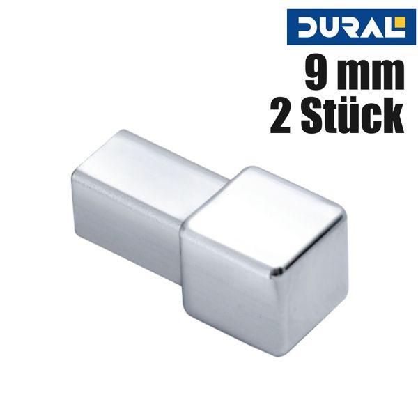 DURAL Squareline DPSAE 90-Y Ecke Aluminium Natur Eloxiert 9 mm 2 Stk./Set