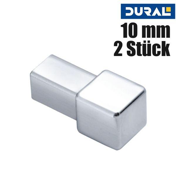 DURAL Squareline DPSA 1062-Y Ecke Aluminium Silber Glänzend Eloxiert 10 mm 2 Stk./Set