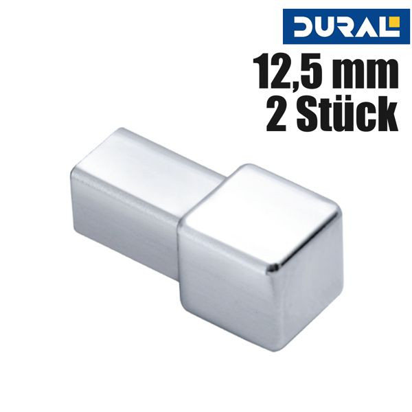 DURAL Squareline DPSAE 125-Y Ecke Aluminium Natur Eloxiert 12,5 mm 2 Stk./Set
