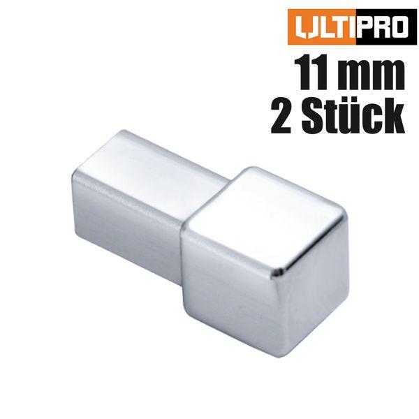 ULTIPRO Quadratprofil Ecke Edelstahl Natur 11 mm 2 Stk./Set