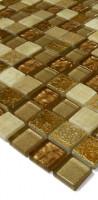 Naturstein-Glas-Dekor Mosaik LAPBS07 Beige