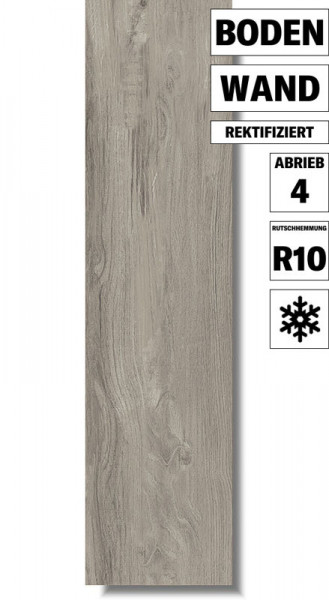 Feinsteinzeug Eco Wood Grey für Wand und Boden
