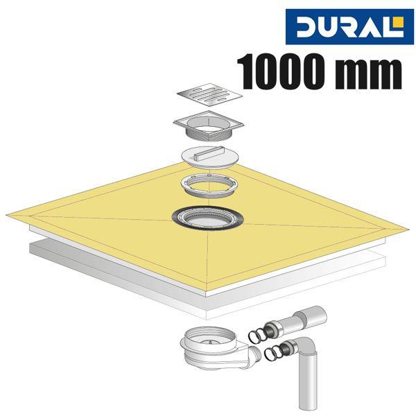 Tilux Point TL 100 Duschelement Set Punktablauf 100 x 100 x 3,6 cm