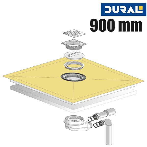 Tilux Point TL 90 Duschelement Set Punktablauf 90 x 90 x 3,6 cm