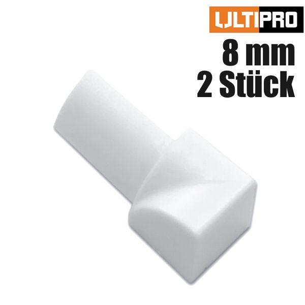 ULTIPRO Rundprofil Innenecke PVC Weiß 8 mm 2 Stk./Set
