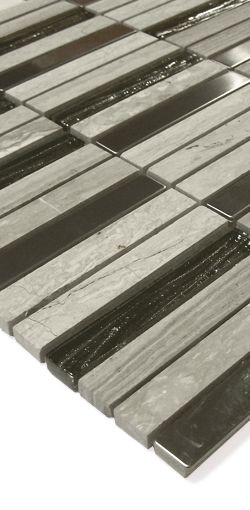 Naturstein-Glas-Metall Mosaik B6 Hellgrau